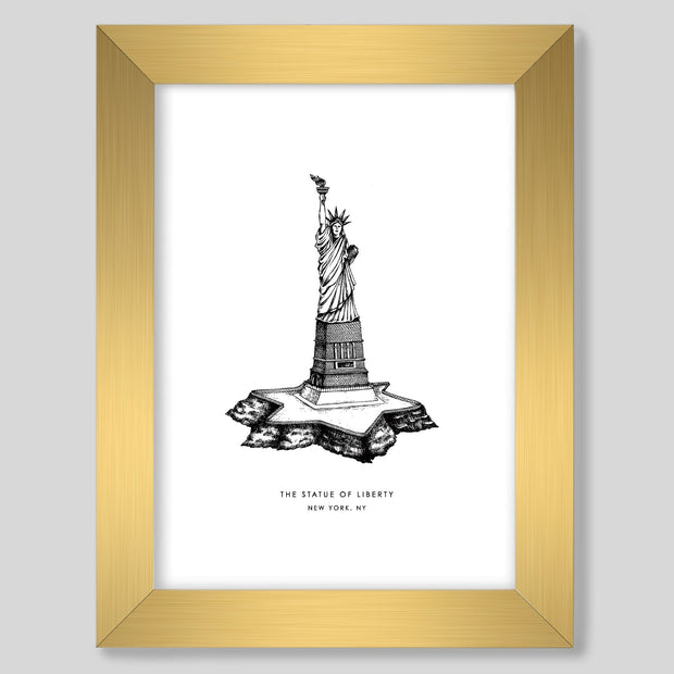 Gallery Prints Black Print / 8x10 / Gold New York Statue of Liberty Print