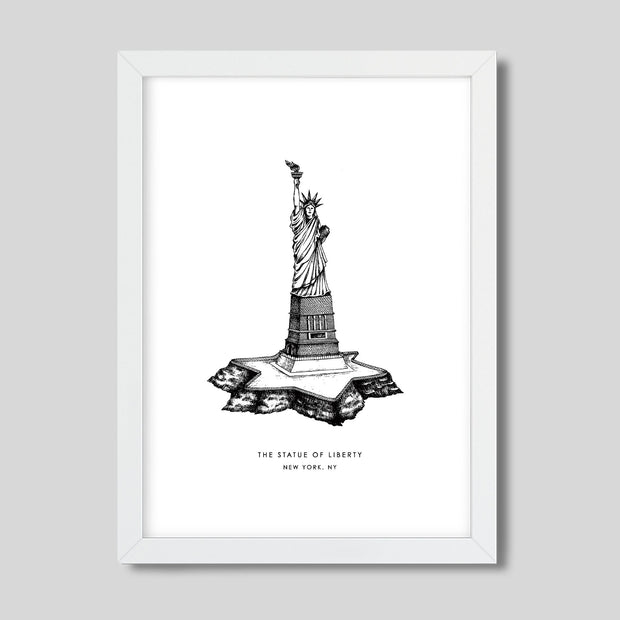 Gallery Prints Black Print / 8x10 / White New York Statue of Liberty Print