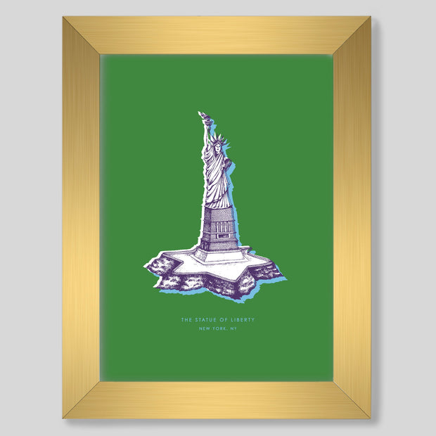 Gallery Prints Green Print / 8x10 / Gold New York Statue of Liberty Print