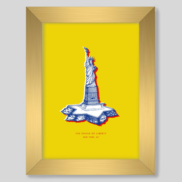 Gallery Prints Yellow Print / 8x10 / Gold New York Statue of Liberty Print