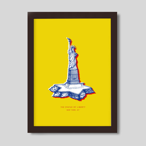 Gallery Prints Yellow Print / 8x10 / Walnut New York Statue of Liberty Print