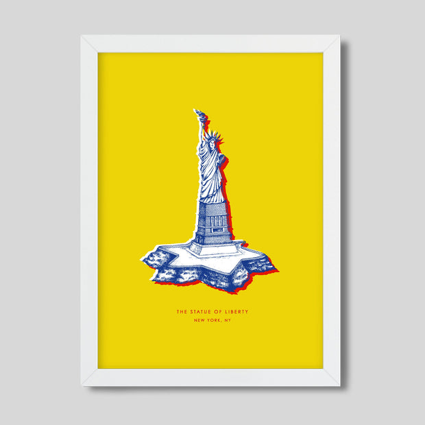 Gallery Prints Yellow Print / 8x10 / White New York Statue of Liberty Print