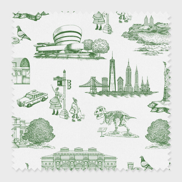 Fabric Green / Cotton New York Toile Fabric