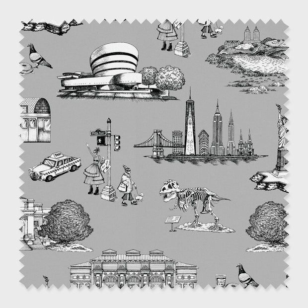 Fabric Grey / Cotton New York Toile Fabric