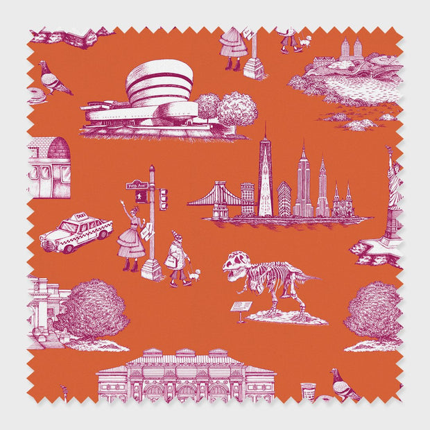 Fabric Orange Magenta / Cotton New York Toile Fabric