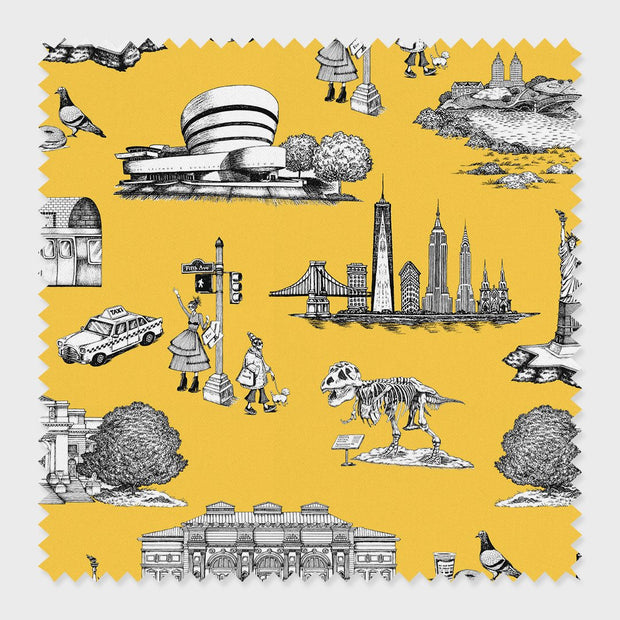 Fabric Yellow / Cotton New York Toile Fabric