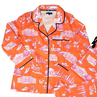 Pajama Set XS New York Toile Long Sleeve Pajama Top - Orange