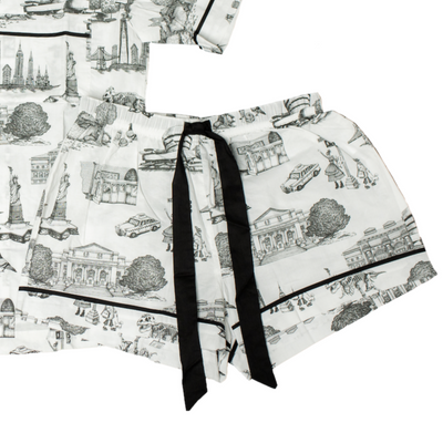 Pajama Set XS / Short Sleeve/ Short New York Toile Pajama Shorts - Black