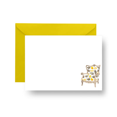Flat Notecard Yellow Oyster Wingback Chair Notecard Set