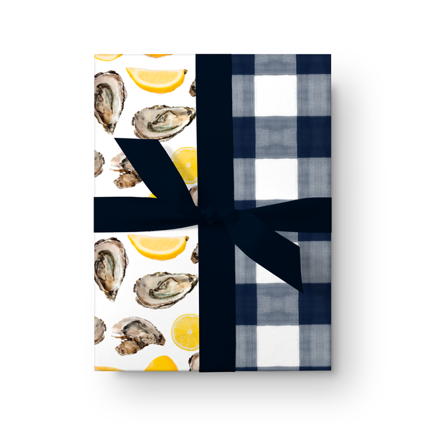 Gift Wrap Oysters + Gingham Double Sided Gift Wrap