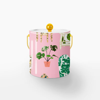 Ice Bucket Gold / Pink Parlor Toile 3QT Ice Bucket