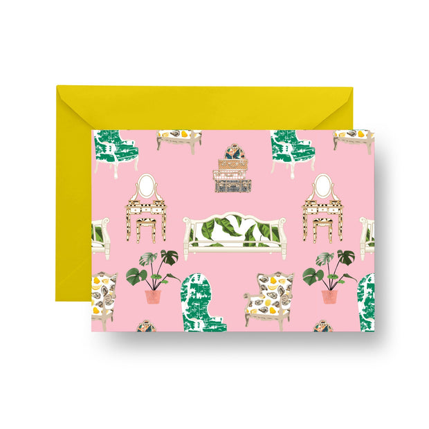 Folded Notecard Pink / A7 Parlor Toile Folded Notecard Set
