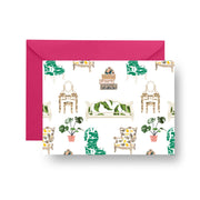Folded Notecard White / A7 Parlor Toile Folded Notecard Set