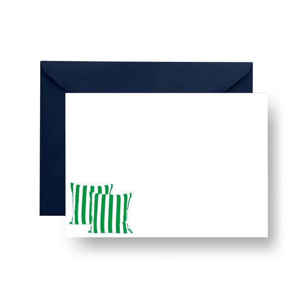 Flat Notecard Green Rugby Stripe Pillows Notecard Set