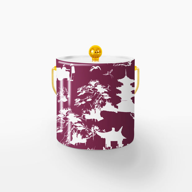 Ice Bucket Gold / Maroon Shangri La 3QT Ice Bucket