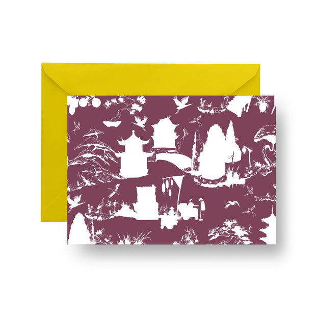 Folded Notecard Maroon Shangri La Folded Notecard Set