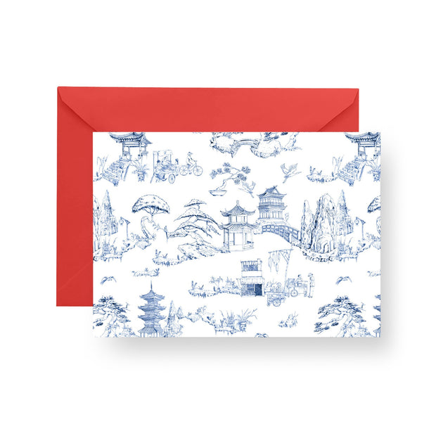 Folded Notecard Navy Shangri La Folded Notecard Set