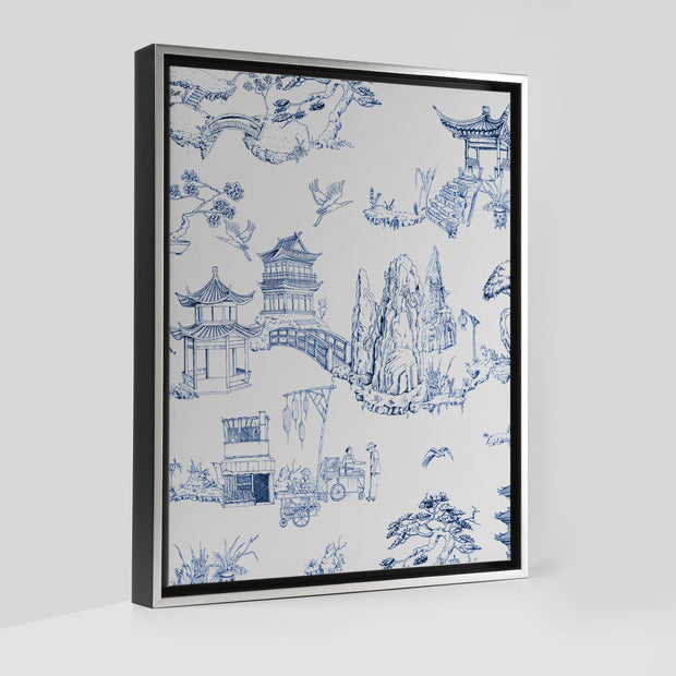 Gallery Prints Navy / 8x10 / Silver Shangri La Toile Canvas