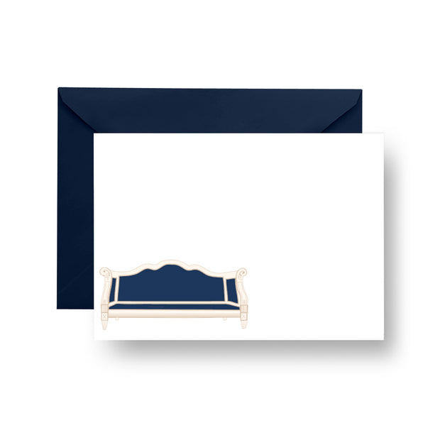 Flat Notecard Navy Sofa Notecard Set