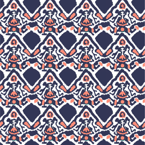 Wallpaper Double Roll / Navy Khandar Wallpaper