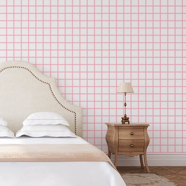 Wallpaper Double Roll / Pink In Check Wallpaper