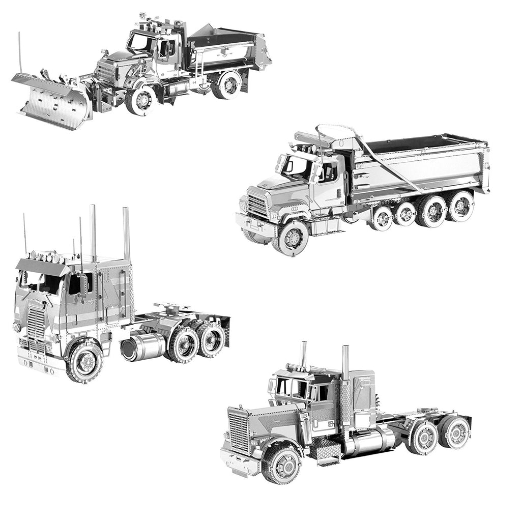 Metal Earth 3D Metal Model Kits Freightliner Set of 4 - Long Nose Truck - COE Truck - Dump Truck - Snow Plow