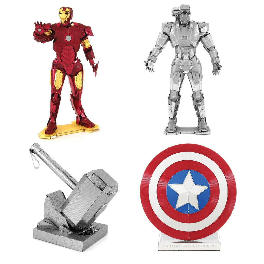 Metal Earth 3D Model Kits Marvel Avengers SET 4 = Iron Man - War Machine - Captain America's Shield - Thor's Hammer