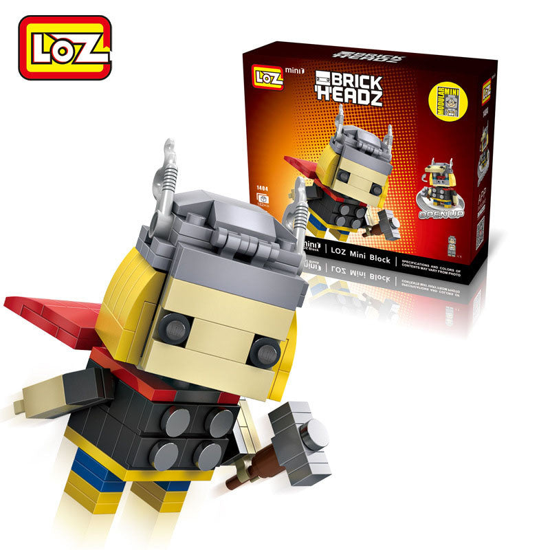 LOZ Diamond Blocks Brick 'H'eadz 182 piece Mini Block Set - Thor
