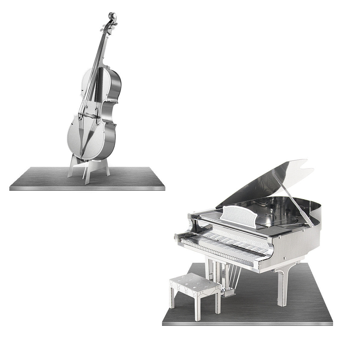 Metal Earth 3D Laser Cut Steel Models Grand Piano AND Bass Fiddle SET of 2