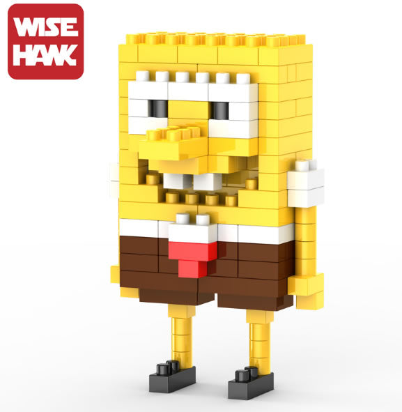 Wise Hawk Mini Nano Blocks 138 Piece Building Set - Spongebob Squarepants