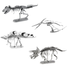 Metal Earth 3D Metal Model Kits Set of 4 Dinosaurs - T-Rex, Stegosaurus, Triceratops and Pteranodon