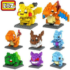 Set of 8 Pokemon Style Building Bricks Toy Mini Nano Block Pocket Monster Toy