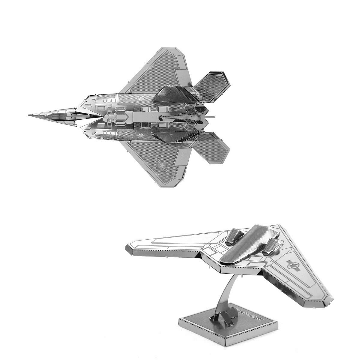 Metal Earth 3D Models F22 Raptor AND Stealth Bomber RQ-170 Sentinel SET 2