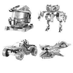 Metal Earth 3D Laser Model Kits- HALO Set of 4- UNSC Mantis, Pelican, Warthog & Master Chief Helmet