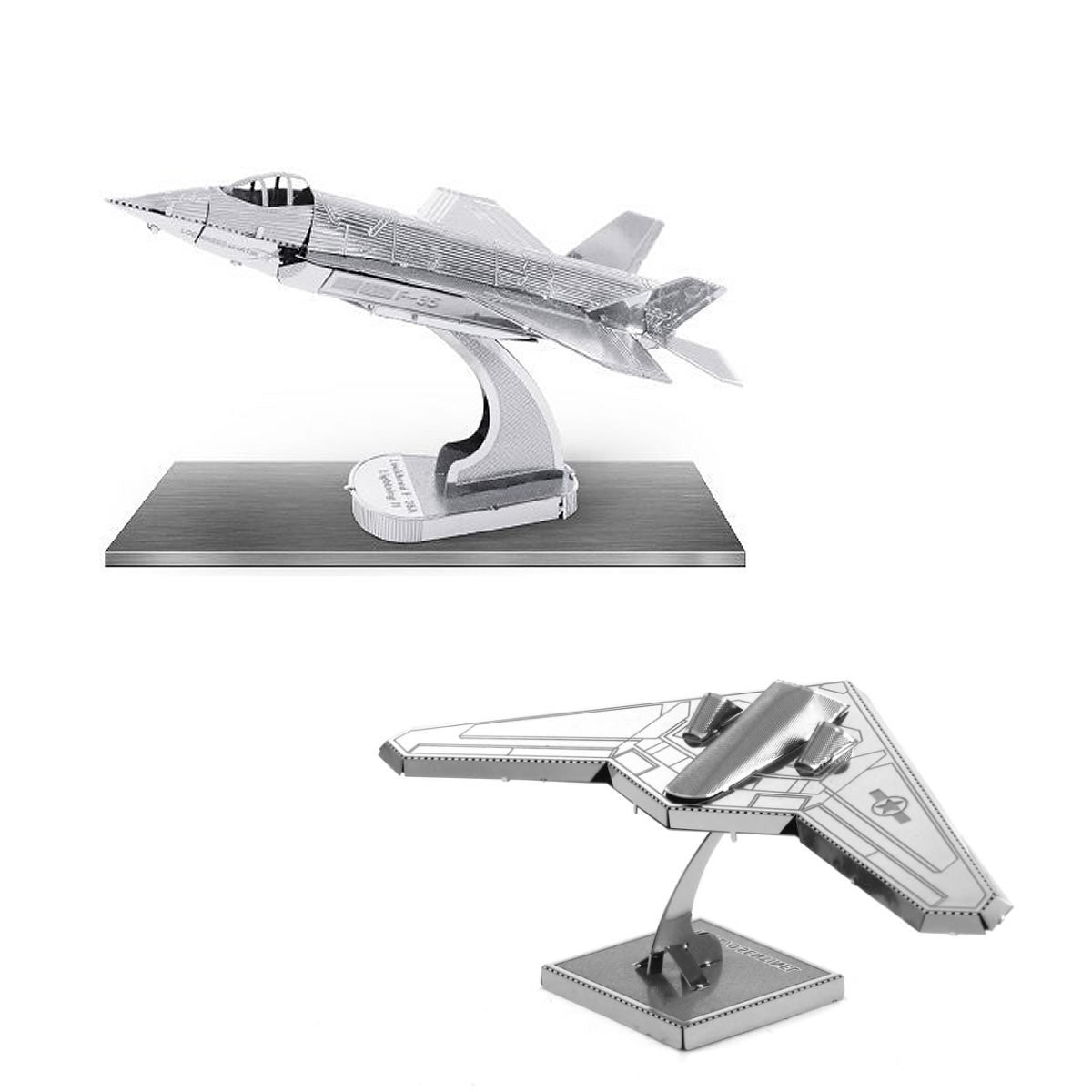 Metal Earth 3D Models F-35 Lightning II AND Stealth Bomber RQ-170 Sentinel SET 2
