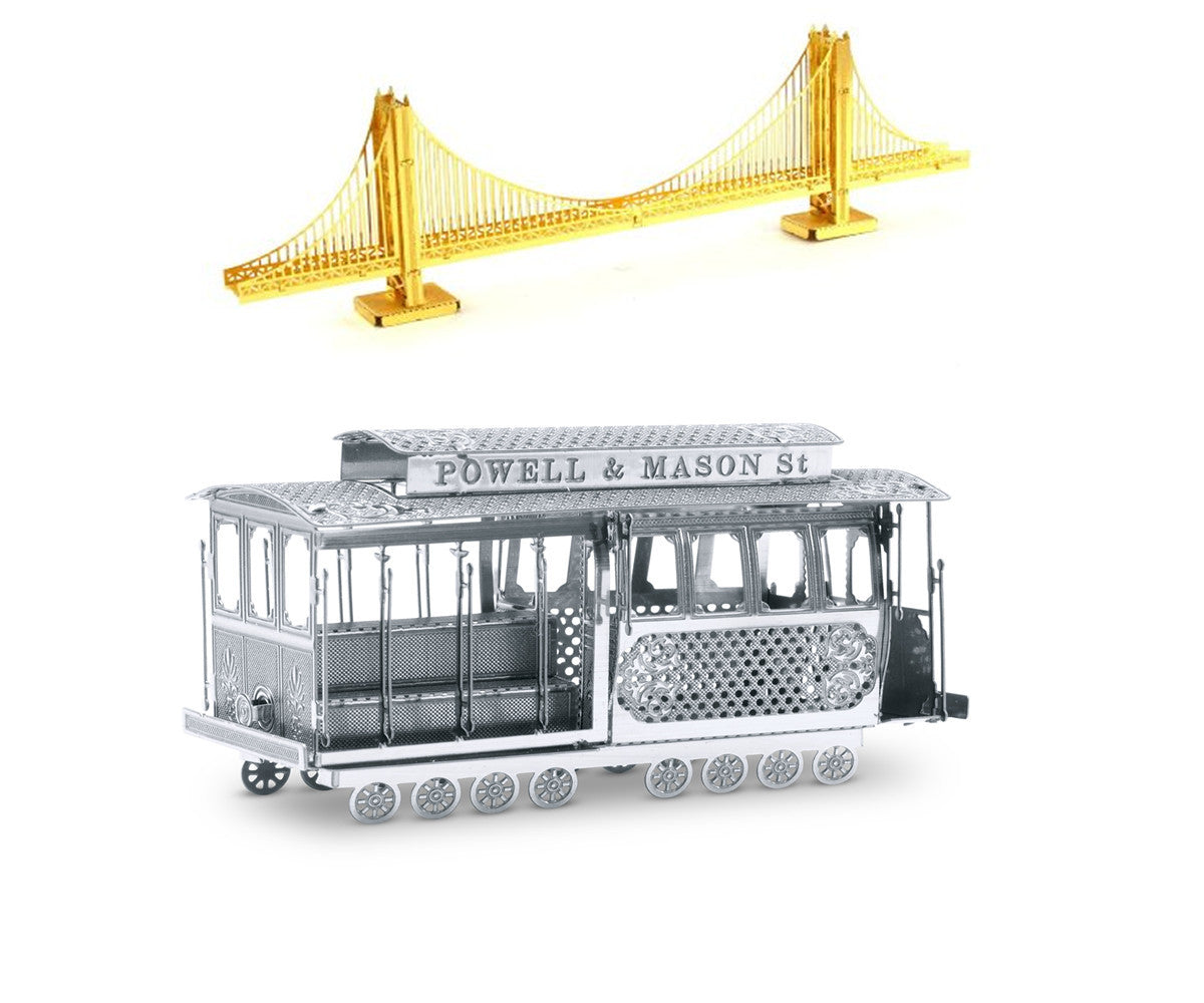 Metal Earth 3D Laser Cut Steel Models Golden Gate Bridge AND Cable Car SET OF 2