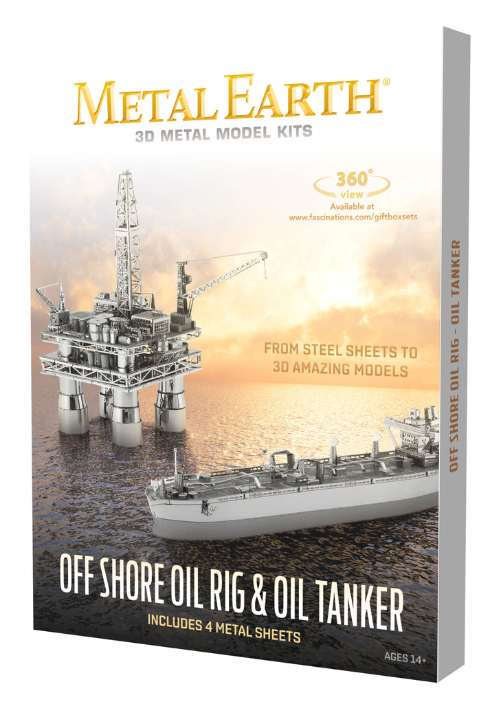 Fascinations Metal Earth 3D Laser Cut Model Kit Offshore Oil Rig & Tanker Boxed Gift Set