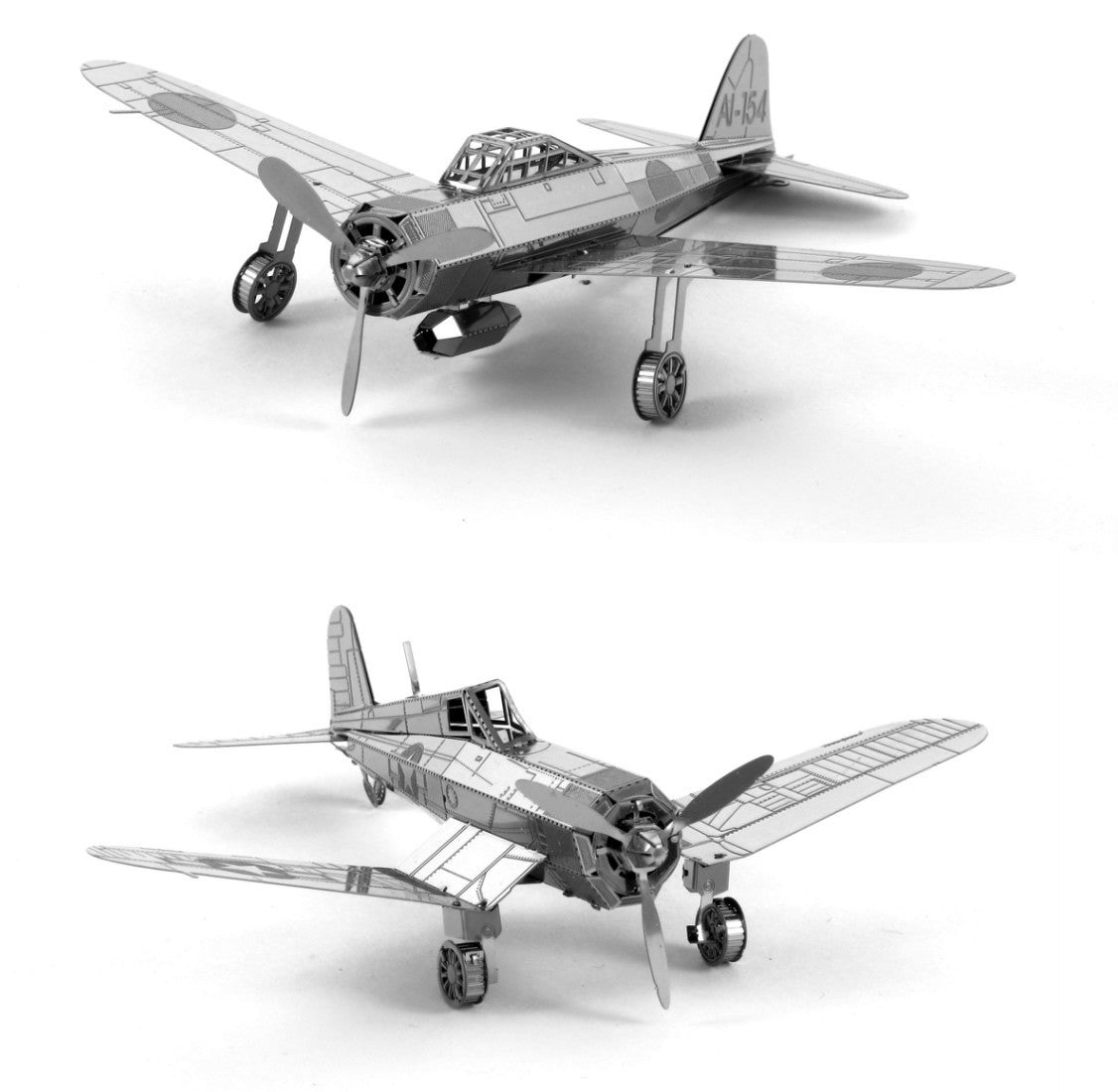Metal Earth 3D Laser Models Mitsubishi Zero AND F4U Corsair WWII Airplanes SET 2