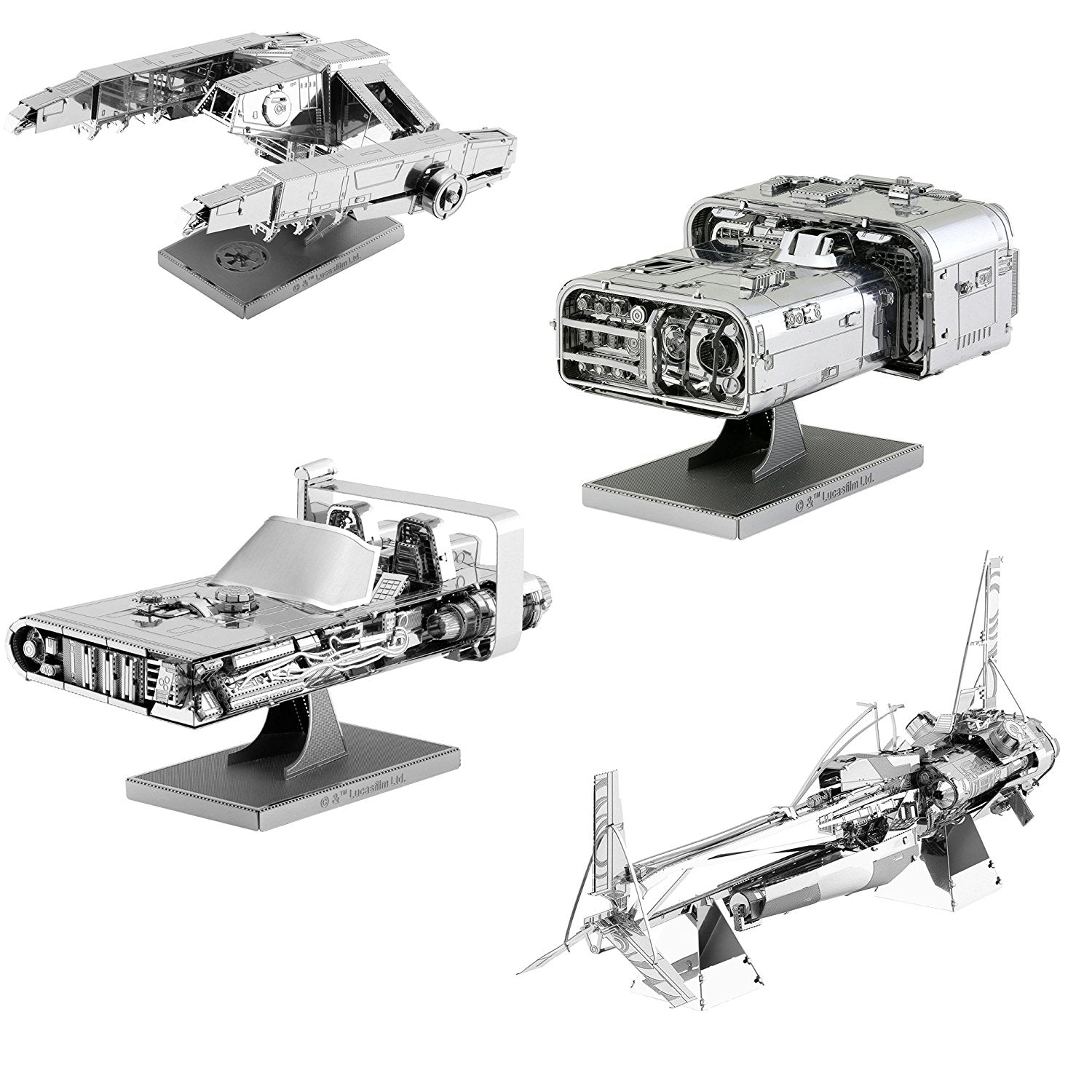Metal Earth 3D Metal Model Kits Star Wars Solo Set of 4 - Enfys Nest's Swoop Bike - Han's Speeder - Imperial AT-Hauler - Moloch's Landspeeder