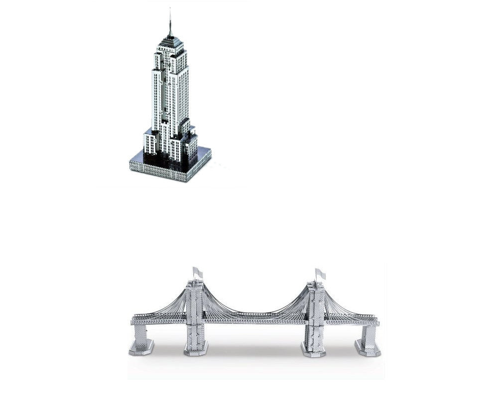 Metal Earth 3D Laser Steel Models Brooklyn Bridge + Empire State Building SET 2