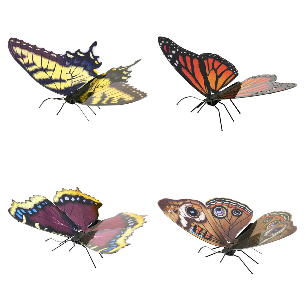 Metal Earth 3D Model Set of 4 Kits - Butterflies - Monarch, Tiger Swallowtail, Mourning Cloak, Buckeye