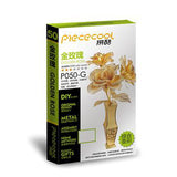 Piececool 3D Laser Cut Steel Model Building Kit - Golden Rose