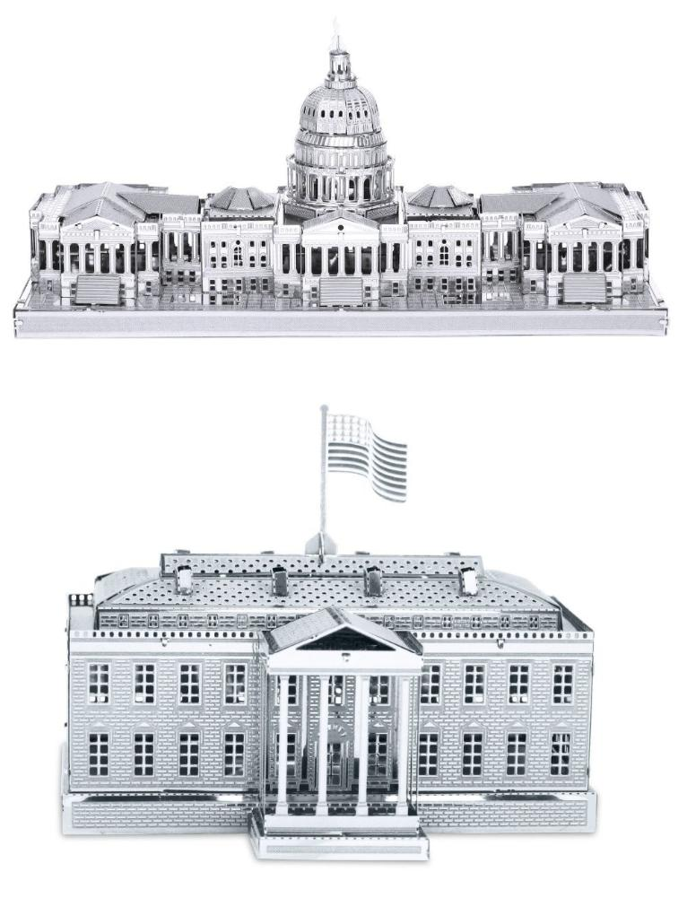Metal Earth 3D Laser Cut Models U.S. Capitol Building AND White House SET OF 2
