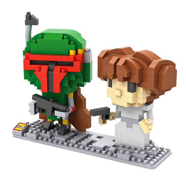 LOZ Diamond Blocks Star Wars Gift Series Nano Block 400 Piece Building Set of 2 - Boba Fett + Leia