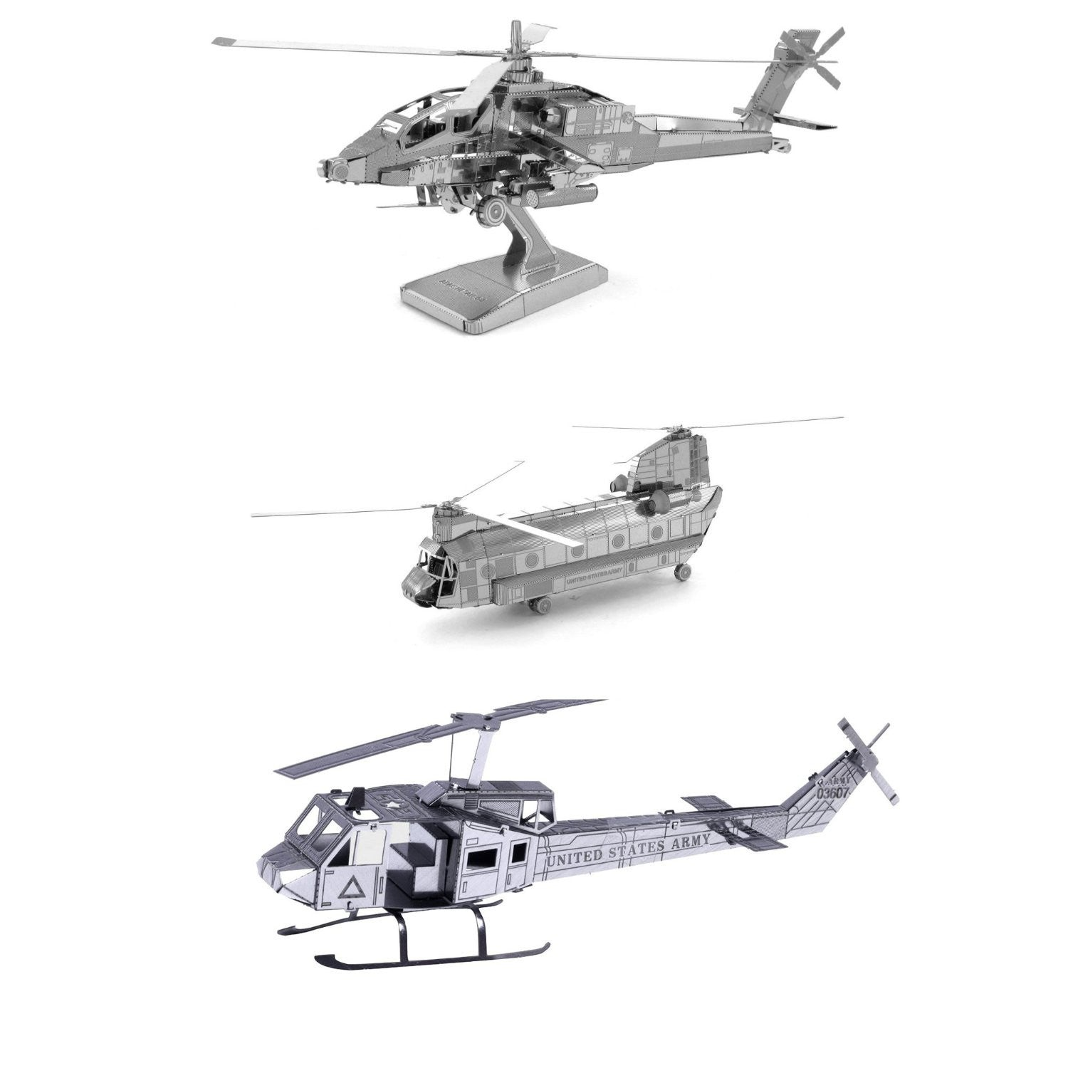 Metal Earth 3D Laser Cut Helicopter Model SET of 3 Kits: AH-64 Apache - CH-47 Chinook - UH-1 Huey