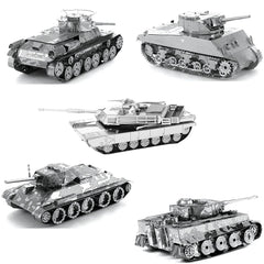 Metal Earth Tanks 3D Metal Model Kits - M1 Abrams - Tiger 1 - T-34 - Chi-Ha - Sherman - Set of 5