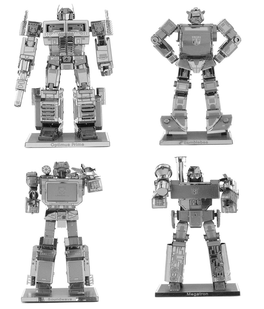 Metal Earth Models Transformers SET 4 Optimus Prime Bumblebee Soundwave Megatron