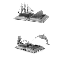 Metal Earth Book Sculpture 3D Metal Model Kits - Moby Dick & The Old Man and the Sea - Set of 2