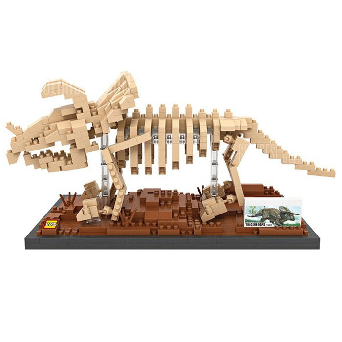 LOZ Diamond Blocks Gift Series Nano Block 660 Piece Building Set - Triceratops Dinosaur Fossil