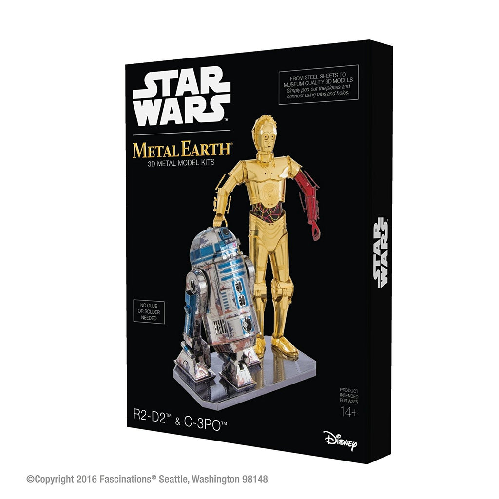 Metal Earth 3D Laser Cut FULL COLOR Model BOXED GIFT SET Star Wars C-3PO + R2-D2